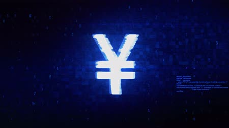 won : Yen Symbol Currency Symbol Abstract Digital Pixel Noise Glitch Error Video Damage Signal Loop 4K Animation.