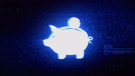 kumbara : Piggy bank Coin Symbol Abstract Digital Pixel Noise Glitch Error Video Damage Signal Loop 4K Animation. Stok Video