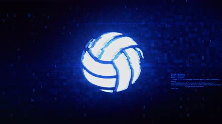 volleyball : Play Volleyball Game Ball Symbol Abstract Digital Pixel Noise Glitch Error Video Damage Signal Loop 4K Animation.