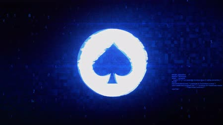 blackjack : Playing Card Suit Spade Symbol Abstract Digital Pixel Noise Glitch Error Video Damage Signal Loop 4K Animation. Stock Footage