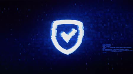 антивирус : Security Shield Symbol Abstract Digital Pixel Noise Glitch Error Video Damage Signal Loop 4K Animation.