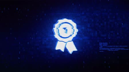 medal : Ribbon Award Symbol Abstract Digital Pixel Noise Glitch Error Video Damage Signal Loop 4K Animation.