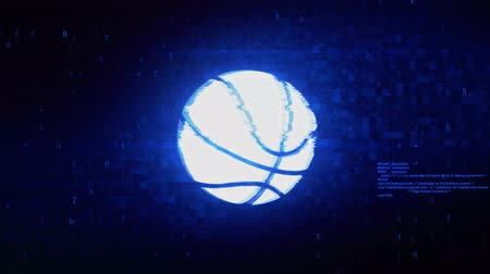 volleyball : Basketball Ball Symbol Abstract Digital Pixel Noise Glitch Error Video Damage Signal Loop 4K Animation.