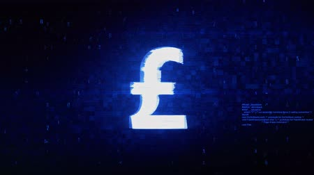esterlino : Pound Sterling Currency Symbol Abstract Digital Pixel Noise Glitch Error Video Damage Signal Loop 4K Animation.