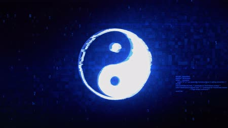 yinyang : Yin Yang Symbol Of Harmony Symbol Abstract Digital Pixel Noise Glitch Error Video Damage Signal Loop 4K Animation.