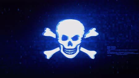 flat head : Skull And Crossbones Symbol Abstract Digital Pixel Noise Glitch Error Video Damage Signal Loop 4K Animation.