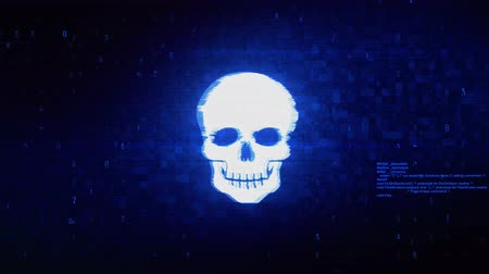 piracy : Face skull Symbol Abstract Digital Pixel Noise Glitch Error Video Damage Signal Loop 4K Animation.
