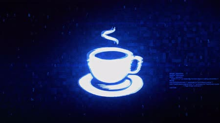 kopje thee : Cup Of Tea Symbol Abstract Digital Pixel Noise Glitch Error Video Damage Signal Loop 4K Animation.