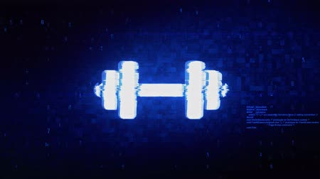 súlyzó : Barbell, dumbbell, exercise Symbol Abstract Digital Pixel Noise Glitch Error Video Damage Signal Loop 4K Animation.
