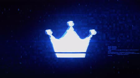 rytíř : Queen Royalty Crown Symbol Abstract Digital Pixel Noise Glitch Error Video Damage Signal Loop 4K Animation.