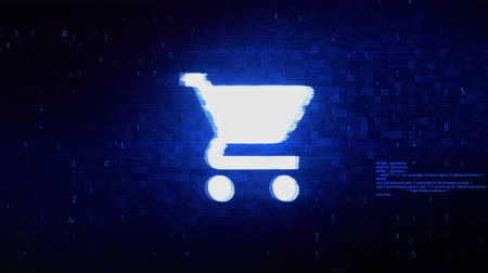 troli : Buy Shopping Cart Trolley Symbol Abstract Digital Pixel Noise Glitch Error Video Damage Signal Loop 4K Animation.