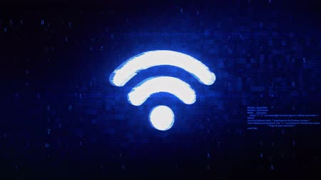 wi fi : Wifi Connection Signal Symbol Abstract Digital Pixel Noise Glitch Error Video Damage Signal Loop 4K Animation. Vídeos