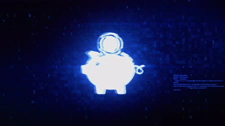 piggy bank : Piggy Bank Save Money Symbol Abstract Digital Pixel Noise Glitch Error Video Damage Signal Loop 4K Animation.