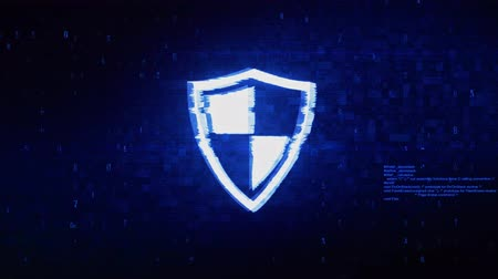 антивирус : Defence, guard, protect, safety, shield Symbol Abstract Digital Pixel Noise Glitch Error Video Damage Signal Loop 4K Animation.