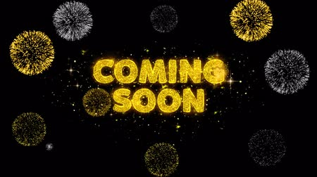 promover : Coming Soon Text Reveal on Glitter Golden Particles Firework. Sale, Discount Price, Off Deals, Offer promotion offer percent discount ads 4K Loop Animation.
