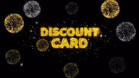 cupom : Discount Card Text Reveal on Glitter Golden Particles Firework. Sale, Discount Price, Off Deals, Offer promotion offer percent discount ads 4K Loop Animation. Vídeos
