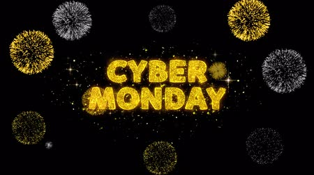 promo : Cyber Monday Text Reveal on Glitter Golden Particles Firework. Sale, Discount Price, Off Deals, Offer promotion offer percent discount ads 4K Loop Animation.
