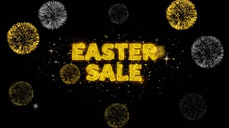 慶典 : Easter Sale Text Reveal on Glitter Golden Particles Firework. Sale, Discount Price, Off Deals, Offer promotion offer percent discount ads 4K Loop Animation.