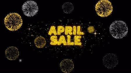 inkoop : April Sale Text Reveal on Glitter Golden Particles Firework. Verkoop, kortingsprijs, off-deals, aanbieding promotie aanbieding procent korting advertenties 4K Loop Animation.