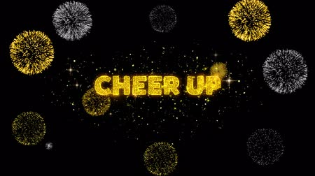 promover : Cheer Up Text Reveal on Glitter Golden Particles Firework. Sale, Discount Price, Off Deals, Offer promotion offer percent discount ads 4K Loop Animation. Stock Footage