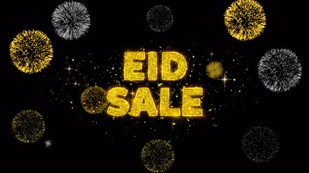 рекламный : Eid Sale Text Reveal on Glitter Golden Particles Firework. Sale, Discount Price, Off Deals, Offer promotion offer percent discount ads 4K Loop Animation.
