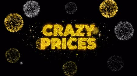 pricetag : Crazy Prices Text Reveal on Glitter Golden Particles Firework. Sale, Discount Price, Off Deals, Offer promotion offer percent discount ads 4K Loop Animation.
