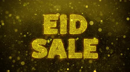 慶典 : Eid Sale Text Golden Glitter Glowing Lights Shine Particles. Sale, Discount Price, Off Deals, Offer promotion offer percent discount ads 4K Loop Animation.