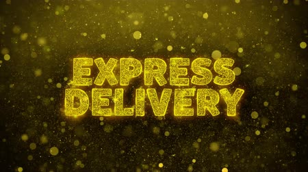 przesyłka : EXPRESS DELIVERY Text Golden Glitter Glowing Lights Shine Particles. Sale, Discount Price, Off Deals, Offer promotion offer percent discount ads 4K Loop Animation.
