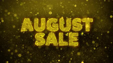 trikolóra : August Sale Text Golden Glitter Glowing Lights Shine Particles. Sale, Discount Price, Off Deals, Offer promotion offer percent discount ads 4K Loop Animation.