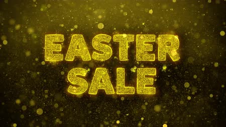 prozent : Ostern-Verkaufs-Text-goldener Funkeln-glühende Lichter glänzen Partikel. Sale, Discount Price, Off Deals, Angebot Promotion Angebot Prozent Rabatt Anzeigen 4K Loop Animation.