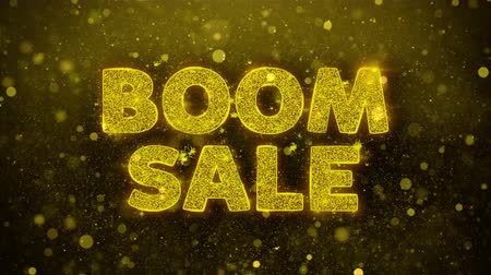 comics pop : Boom Sale Text Golden Glitter Glowing Lights Shine Particles. Sale, Discount Price, Off Deals, Offer promotion offer percent discount ads 4K Loop Animation. Stock Footage
