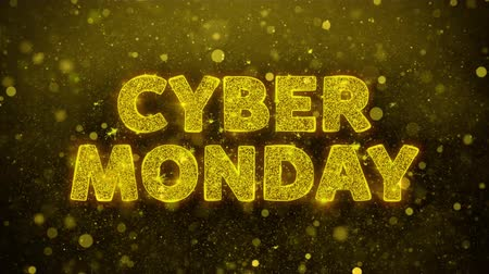 product promo : Cyber Monday Text Golden Glitter Glowing Lights Shine Particles. Sale, Discount Price, Off Deals, Offer promotion offer percent discount ads 4K Loop Animation. Stock Footage