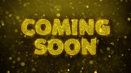 soon : Coming Soon Text Golden Glitter Glowing Lights Shine Particles. Sale, Discount Price, Off Deals, Offer promotion offer percent discount ads 4K Loop Animation.