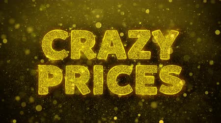 pricetag : Crazy Prices Text Golden Glitter Glowing Lights Shine Particles. Sale, Discount Price, Off Deals, Offer promotion offer percent discount ads 4K Loop Animation.