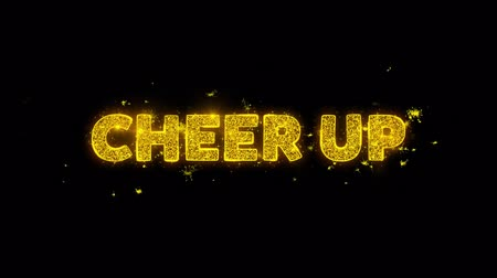 promover : Cheer Up Text Sparks Glitter Particles on Black Background. Sale, Discount Price, Off Deals, Offer promotion offer percent discount ads 4K Loop Animation. Stock Footage