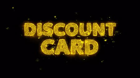 cupom : Discount Card Text Sparks Glitter Particles on Black Background. Sale, Discount Price, Off Deals, Offer promotion offer percent discount ads 4K Loop Animation.