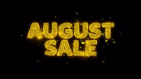 üç renkli : August Sale Text Sparks Glitter Particles on Black Background. Sale, Discount Price, Off Deals, Offer promotion offer percent discount ads 4K Loop Animation. Stok Video