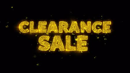 végső : Clearance Sale Text Sparks Glitter Particles on Black Background. Sale, Discount Price, Off Deals, Offer promotion offer percent discount ads 4K Loop Animation. Stock mozgókép