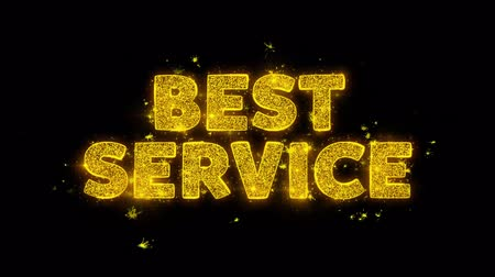 jóváhagyás : Best Service Text Sparks Glitter Particles on Black Background. Sale, Discount Price, Off Deals, Offer promotion offer percent discount ads 4K Loop Animation.