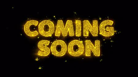 объявлять : Coming Soon Text Sparks Glitter Particles on Black Background. Sale, Discount Price, Off Deals, Offer promotion offer percent discount ads 4K Loop Animation.