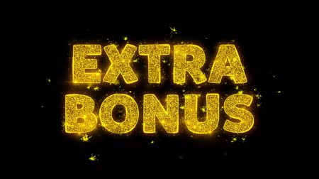 vinheta : Extra Bonus Text Sparks Glitter Particles on Black Background. Sale, Discount Price, Off Deals, Offer promotion offer percent discount ads 4K Loop Animation. Vídeos