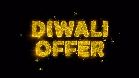редактируемые : Diwali Offer Text Sparks Glitter Particles on Black Background. Sale, Discount Price, Off Deals, Offer promotion offer percent discount ads 4K Loop Animation. Стоковые видеозаписи