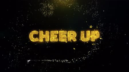 appreciation : Cheer Up Text on Gold Glitter Particles Spark Exploding Fireworks Display. Sale, Discount Price, Off Deals, Offer Promotion Offer Percent Discount ads 4K Loop Animation.
