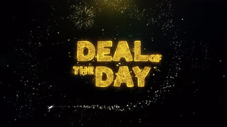 vonk : Deal Of The Day Text on Gold Glitter Particles Spark Exploding Fireworks Display. Sale, Discount Price, Off Deals, Offer Promotion Offer Percent Discount ads 4K Loop Animation. Stockvideo