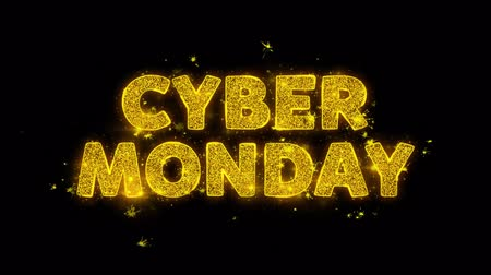 ビルボード : Cyber Monday Text Sparks Glitter Particles on Black Background. Sale, Discount Price, Off Deals, Offer promotion offer percent discount ads 4K Loop Animation.