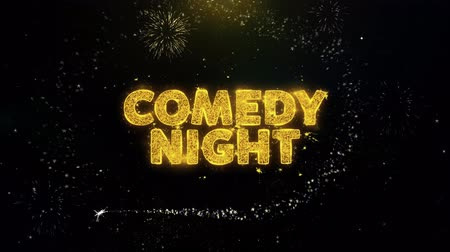 výhoda : Comedy Night Text on Gold Glitter Particles Spark Exploding Fireworks Display. Sale, Discount Price, Off Deals, Offer Promotion Offer Percent Discount ads 4K Loop Animation.