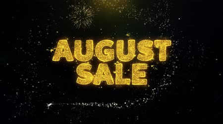 trikolóra : August Sale Text on Gold Glitter Particles Spark Exploding Fireworks Display. Sale, Discount Price, Off Deals, Offer Promotion Offer Percent Discount ads 4K Loop Animation.