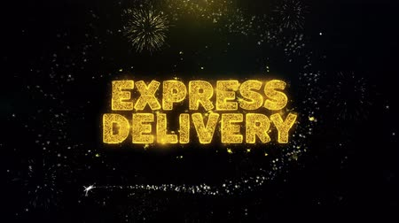 партия : EXPRESS DELIVERY Text on Gold Glitter Particles Spark Exploding Fireworks Display. Sale, Discount Price, Off Deals, Offer Promotion Offer Percent Discount ads 4K Loop Animation.