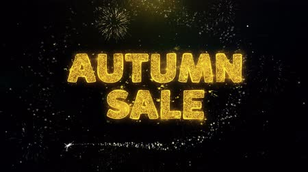 plakát : Autumn Sale Text on Gold Glitter Particles Spark Exploding Fireworks Display. Sale, Discount Price, Off Deals, Offer Promotion Offer Percent Discount ads 4K Loop Animation. Dostupné videozáznamy