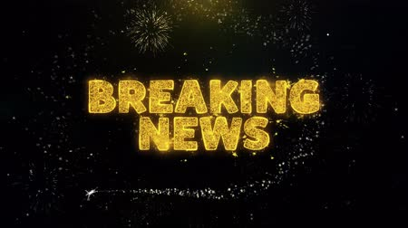 hírlevél : Breaking News! Text on Gold Glitter Particles Spark Exploding Fireworks Display. Sale, Discount Price, Off Deals, Offer Promotion Offer Percent Discount ads 4K Loop Animation. Stock mozgókép